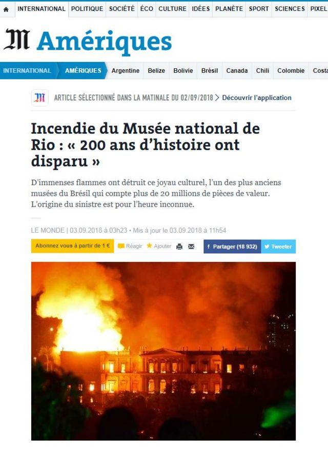 Reprodução da reportagem publicada no site do jornal francês Le Monde