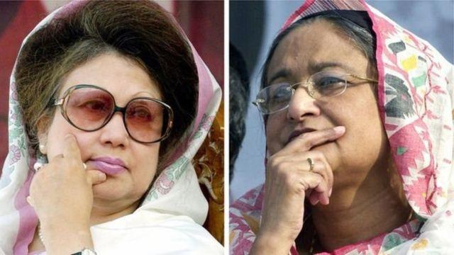 খালেদা জিয়া ও শেখ হাসিনা।