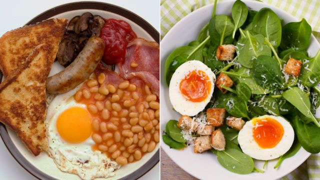 Prženi doručak i salata na bzi jaja
