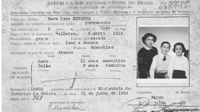 Ficha Consular de imigração de Sara Isaac Menache, emitida pelo cônsul-geral do Brasil em Pireu, em 5 de julho de 1954. Anotados como filhos menores: Leon, com 11 anos, e Bela, com 8 anos, todos com vistos permanentes