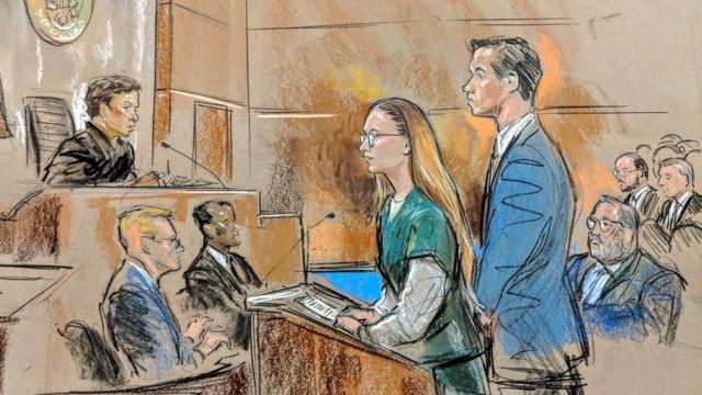 Рисунок с заседания по делу Бутиной 26 апреля