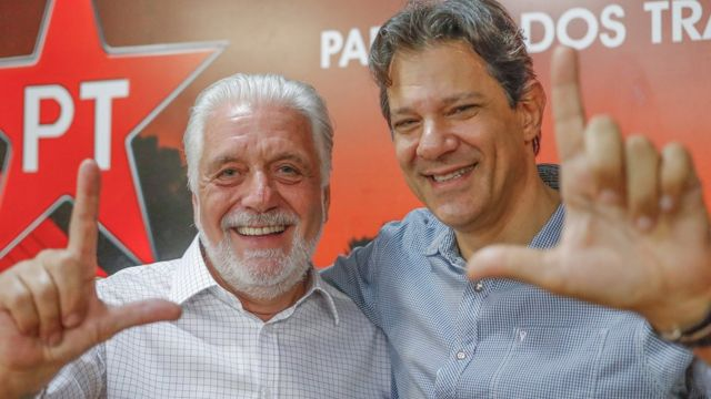 O ex-governador da Bahia Jaques Wagner e o ex-prefeito de São Paulo Fernando Haddad