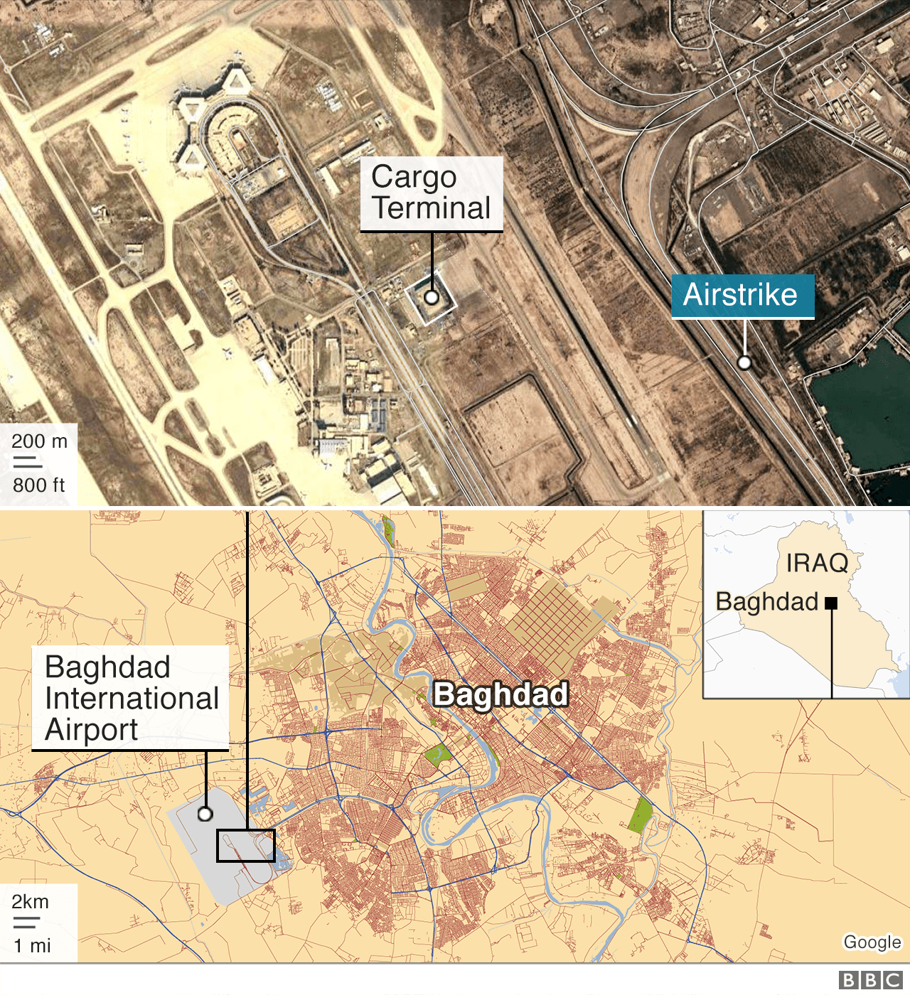 Map showing the location of the air strike
