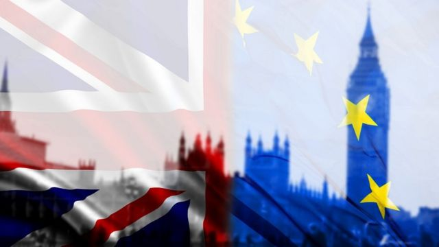 The British and European flags with the British Parliament in the background