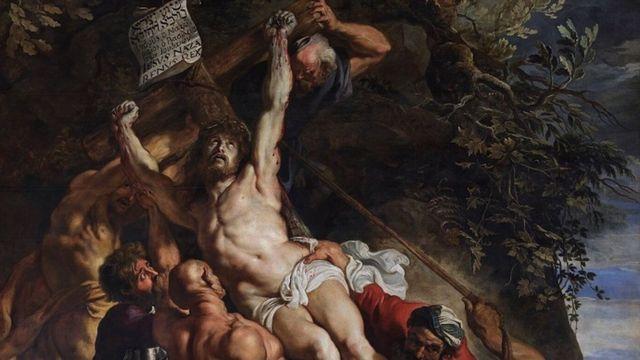 Jesus sendo erguido na cruz, de Rubens