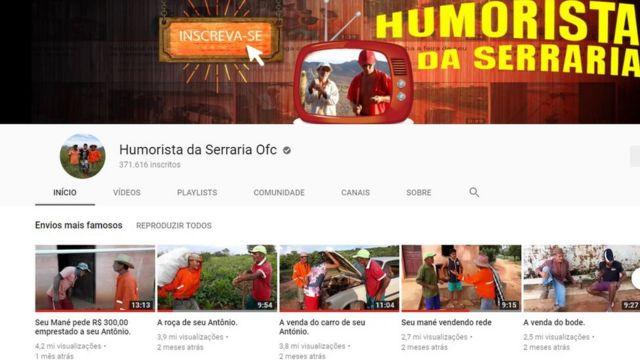 Página no YouTube do grupo Humorista da Serraria Ofc, com os envios de vídeo mais famosos do canal: 4,2 milhões de visualizações, 3,9 milhões, 3,8 milhoes, 2,7 milhões, 2,5 milhões (números de julho de 2018)