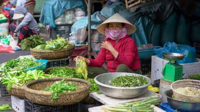 Penjual sayur di Vietnam