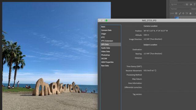 Metadados da foto no Adobe Photoshop