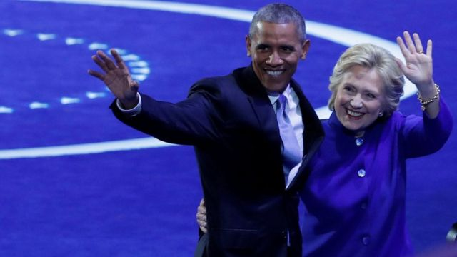 Barack Obama and Hillary Clinton at the Democratic National Convention in Philadelphia, Pennsylvania, US 27 July 2016.