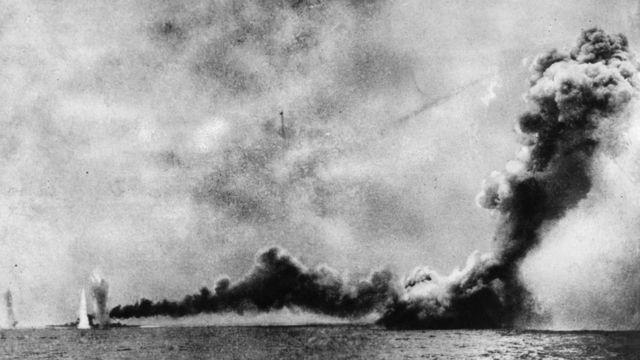HMS Lion is shelled and HMS Queen Mary is blown up by German shells during the battle