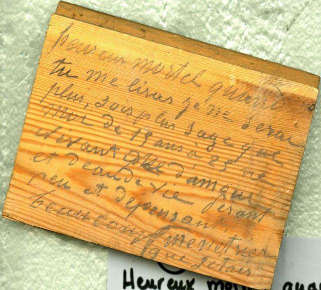 inscription on parquet floor board