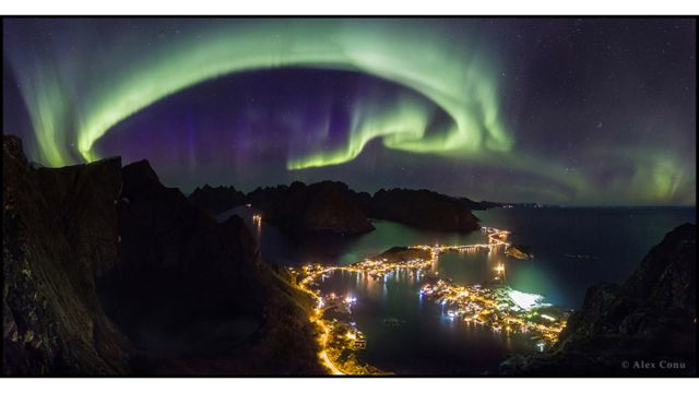 Aurora boreal sobre Lofoten, Noruega