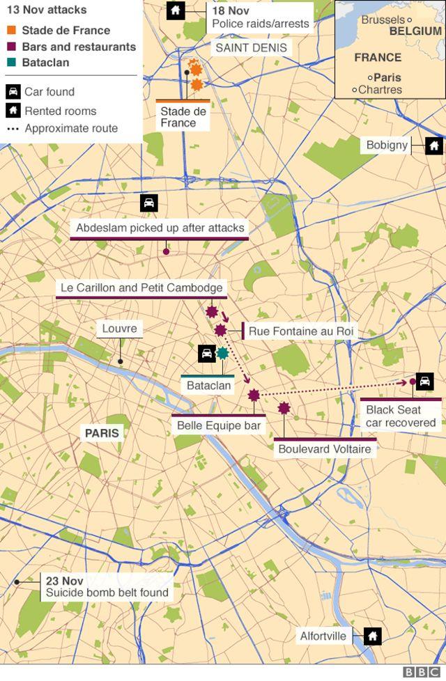 襲撃事件の現場、使用車両の発見場所、爆弾ベルトの発見場所、サンドニのアパートなどの位置関係