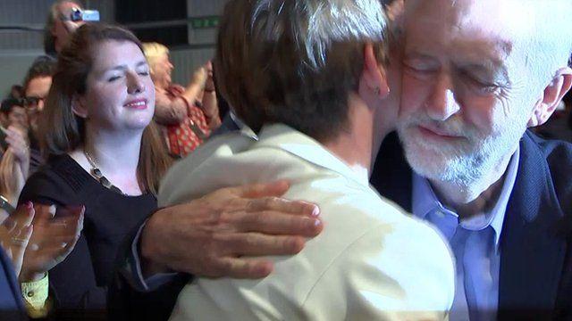 Jeremy Corbyn hugs Yvette Cooper