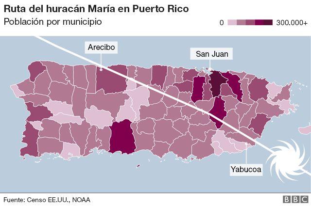 Ruta del huracán María en Puerto Rico
