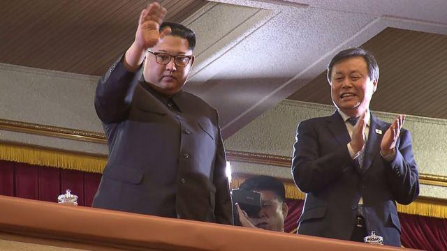 朝鲜领导人金正恩与韩国文化体育观光部长官都钟焕