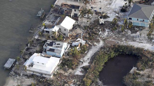 Casas dañadas en los Cayos de Florida
