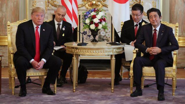 U.S. President Donald Trump, left, and Japanese Prime Minister Shinzo Abe hold a talk at Akasaka Palace,