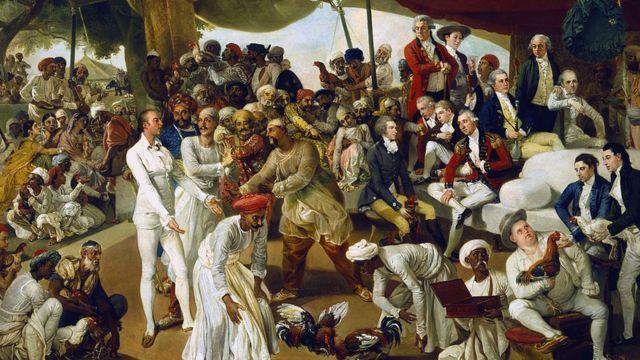 """Картина: """"Полковник Мордаунт в Индии наблюдает за петушиным боем""""."""