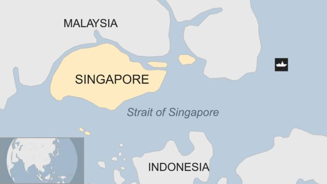 Map showing Singapore and the Strait of Singapore