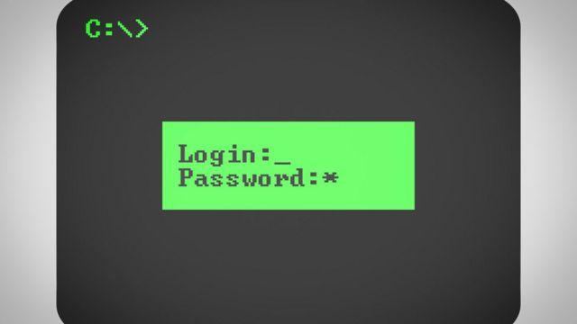 Imagen de una computadora de los '80 que pide contraseña.