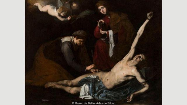 Lukisan Ribera, seperti Saint Sebastian Tended by the Holy Women, 1620-23 - mengungkap sebuah hubungan yang kompleks dalam menggambarkan penderitaan tubuh.