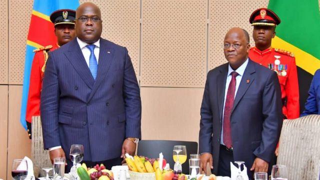 Perezida Tshisekedi wa DR Congo na Magufuli wa Tanzania