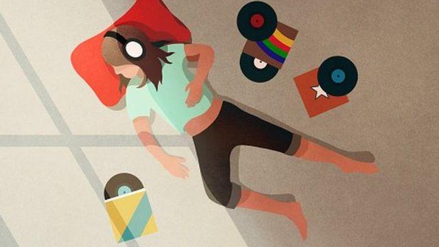 lustración abstracta de un hombre escuchando música.