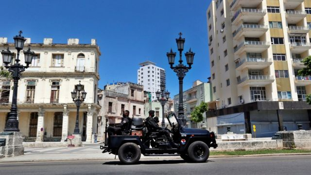 Police patrol in Havana