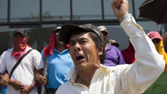 Protesta sindical en México