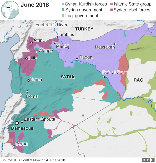 Map showing control of Syria (4 June 2018)