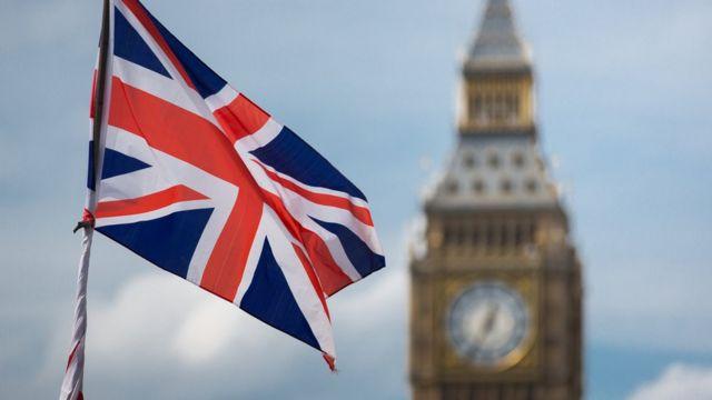 Bandeira britânica com Big Ben ao fundo