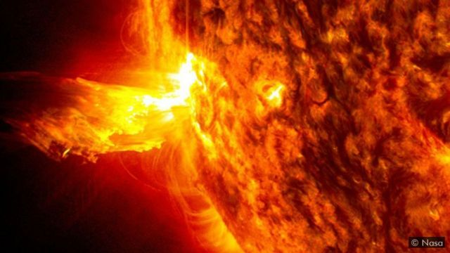 太陽不斷向外拋射稱為太陽風的高能粒子流。太陽風會因太陽活動的強弱而加劇或放緩。