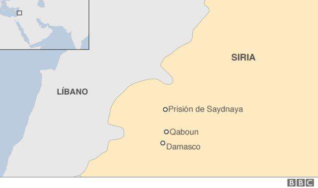 Mapa prisión de Saydnaya