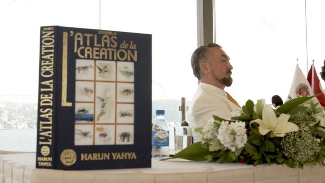 Mr Oktar at on of his book launches