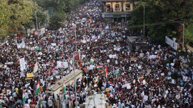 मुंबई में विरोध प्रदर्शन का एक दृश्य