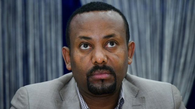 """he leader of the """"Oromo Peoples Democratic Organization"""" (OPDO) Abiy Ahmed looks on during a news conference in Aba Geda, Ethiopia, 02 November 2017"""