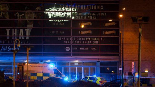 Manchaster Arena rodeado de ambulancias y patrullas