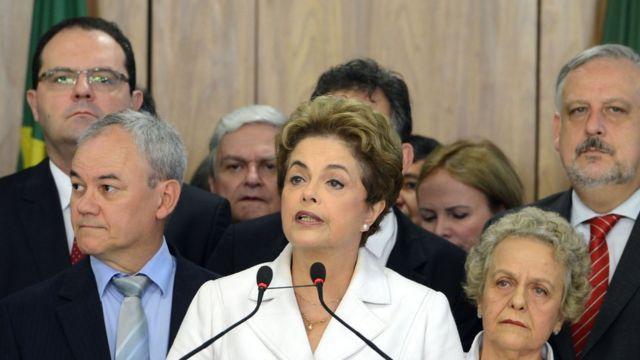 Dilma Rousseff em pronunciamento no dia 12 de maio, quando foi afastada