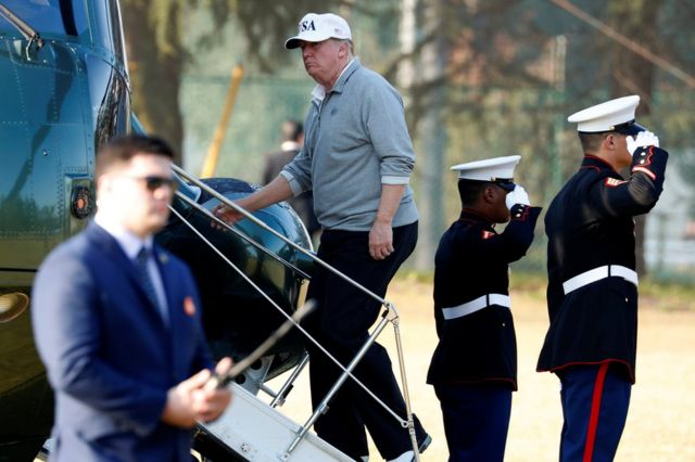 Donald Trump departs after a round of golf with Japan's Prime Minister Shinzo Abe at Kasumigaseki Country Club in Kawagoe, Japan, 5 November