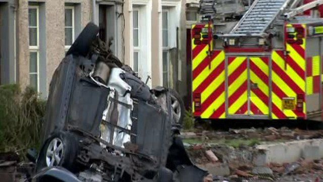 The fire engine crashed at Glenarm Road in Larne, County Antrim.