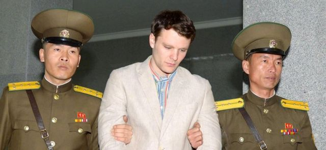 """Otto Frederick Warmbier (C), a University of Virginia student who was detained in North Korea since early January, was taken to North Korea""""s top court in Pyongyang, North Korea"""