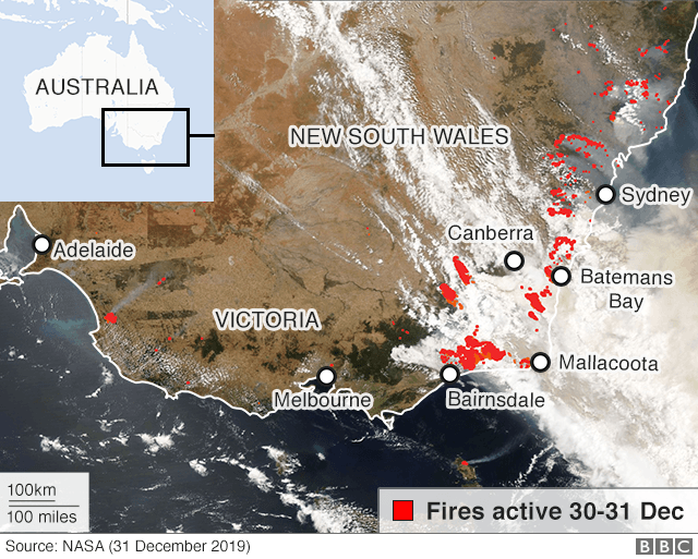 satellite image of fires in Australia