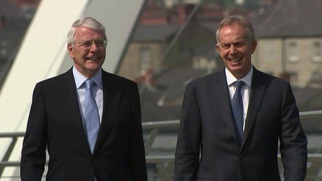 John Major and Tony Blair on The Peace Bridge in Londonderry