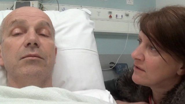 Chris Roberts in hospital with his wife
