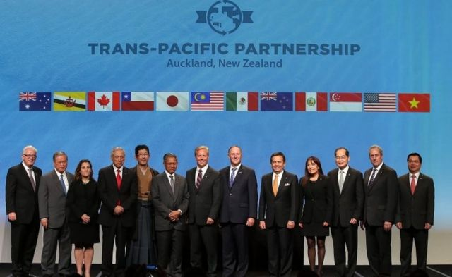 Los ministros de los 12 países que firmaron el TPP en febrero de 2016.