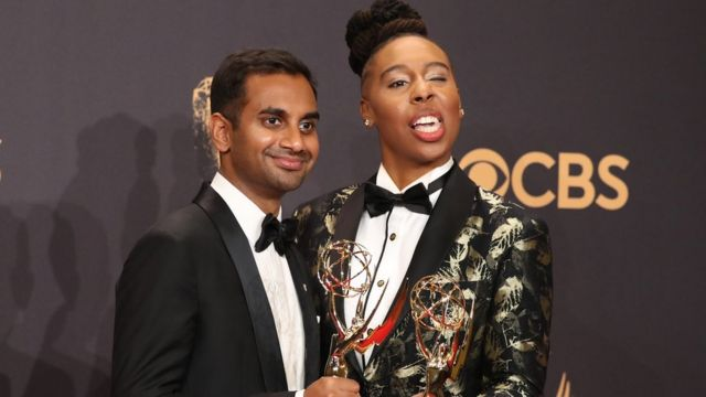 Aziz Ansari (left) and Lena Waithe