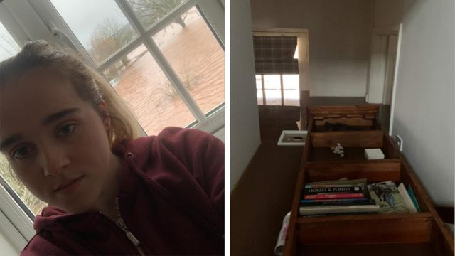 A bookcase in Amy Price's Monmouthshire home was floating in floodwater