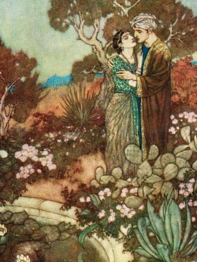 Ilustración de Edmund Dulac para una edición del Rubaiyat.