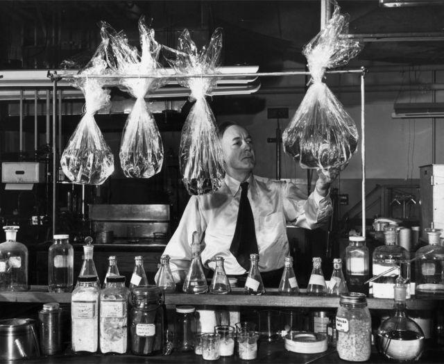 William Hale Charch demonstra como desenvolveu o celofane à prova de umidade na década de 1920